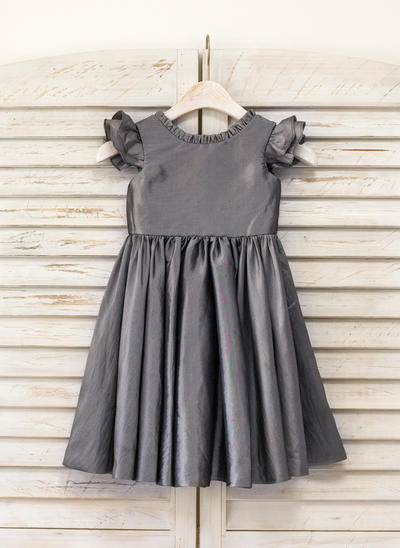 Magnificent Knee-length A-Line/Princess Flower Girl Dresses Scoop Neck Taffeta Sleeveless (010210131)