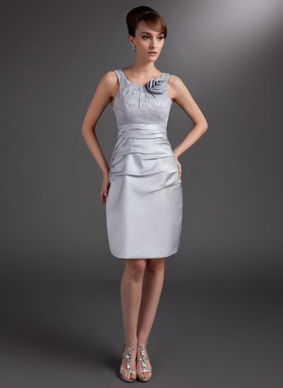 Sheath/Column Scoop Neck Satin Sleeveless Knee-Length Ruffle Flower(s) Mother of the Bride Dresses (008006032)