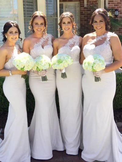 Lace Jersey Sleeveless Trumpet/Mermaid Bridesmaid Dresses One-Shoulder Sweep Train (007145095)