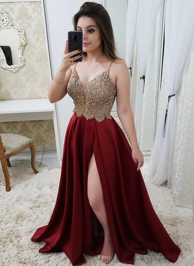 Satin Sleeveless A-Line/Princess Prom Dresses V-neck Beading Split Front Floor-Length (018218636)