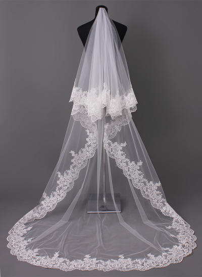 Cathedral Bridal Veils Tulle One-tier Oval/Drop Veil With Lace Applique Edge Wedding Veils (006150899)