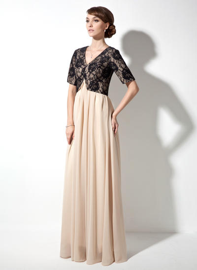 A-Line/Princess V-neck Chiffon Lace Short Sleeves Floor-Length Ruffle Mother of the Bride Dresses (008211436)