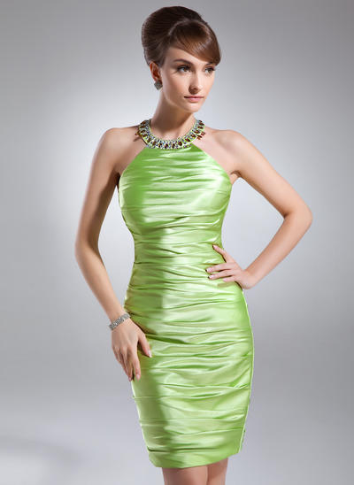 Sheath/Column Scoop Neck Charmeuse Sleeveless Knee-Length Ruffle Beading Cocktail Dresses (016021182)
