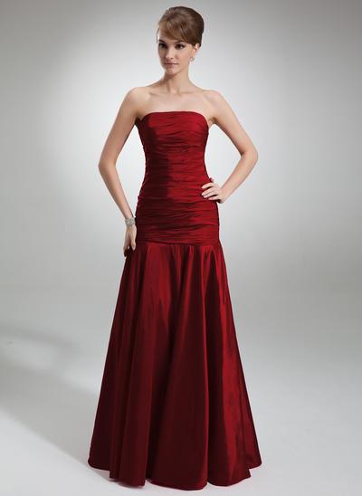 Taffeta Sleeveless Trumpet/Mermaid Bridesmaid Dresses Strapless Ruffle Floor-Length (007001839)
