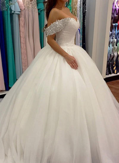 Elegant Sweep Train Ball-Gown Wedding Dresses Off-The-Shoulder Tulle Sleeveless (002148001)