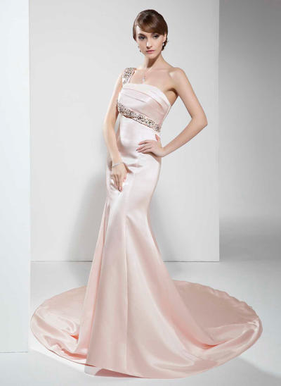 Trumpet/Mermaid One-Shoulder Satin Sleeveless Chapel Train Beading Evening Dresses (017022530)