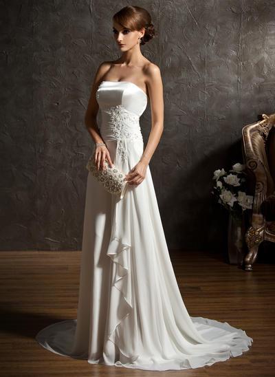 Glamorous Sweep Train A-Line/Princess Wedding Dresses Sweetheart Chiffon Sleeveless (002196837)
