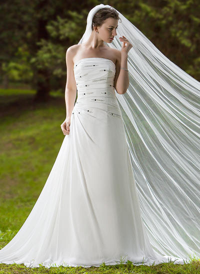 Cathedral Bridal Veils Tulle One-tier Drop Veil With Cut Edge Wedding Veils (006150983)
