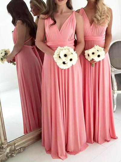 Chiffon Sleeveless A-Line/Princess Bridesmaid Dresses V-neck Ruffle Floor-Length (007211712)