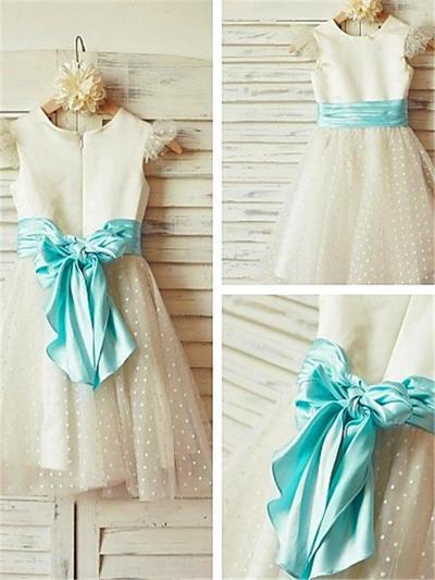 Modern Knee-length A-Line/Princess Flower Girl Dresses Scoop Neck Satin/Tulle Sleeveless (010211914)