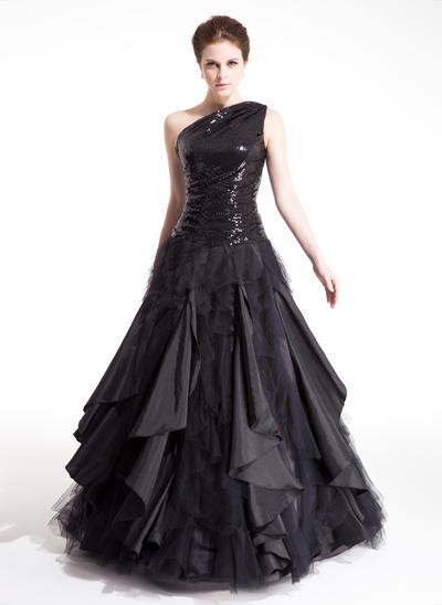 Sleeveless Ball-Gown Prom Dresses One-Shoulder Ruffle Cascading Ruffles Floor-Length (018212992)