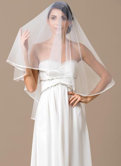 Waltz Bridal Veils Tulle One-tier Classic With Ribbon Edge Wedding Veils (006151810)