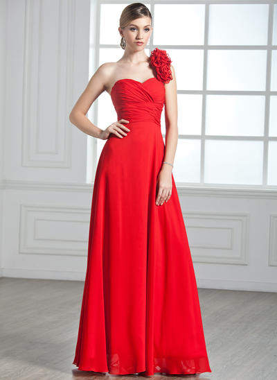 A-Line/Princess One-Shoulder Chiffon Sleeveless Floor-Length Ruffle Flower(s) Evening Dresses (017002599)
