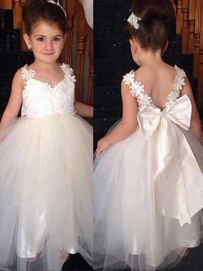 Magnificent Ankle-length Ball Gown Flower Girl Dresses V-neck Tulle/Lace Sleeveless (010145229)