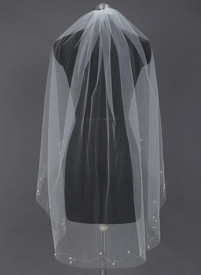 Fingertip Bridal Veils Tulle One-tier Oval With Cut Edge Wedding Veils (006151593)