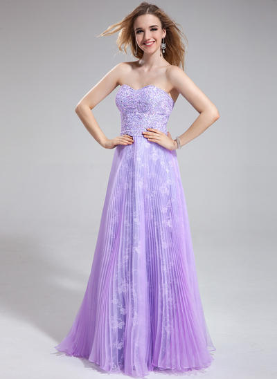 Organza Lace Sleeveless A-Line/Princess Prom Dresses Sweetheart Beading Sequins Pleated Floor-Length (018025276)