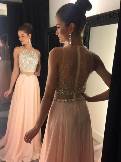 Chiffon Sleeveless A-Line/Princess Prom Dresses Scoop Neck Beading Sweep Train (018145400)