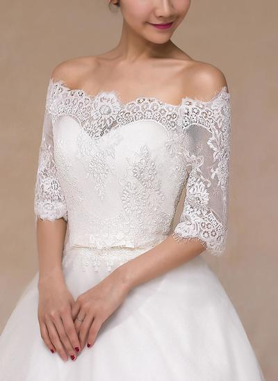 Wrap Wedding Lace Half-Sleeve Other Colors Wraps (013149726)
