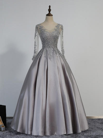 Ball-Gown V-neck Satin Long Sleeves Floor-Length Beading Appliques Lace Evening Dresses (017196745)