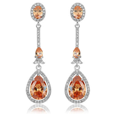 Earrings Zircon/Platinum Plated Pierced Ladies' Stylish Wedding & Party Jewelry (011166733)