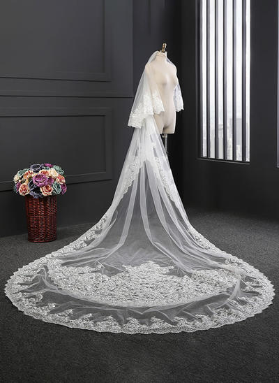 Cathedral Bridal Veils Tulle Two-tier Oval With Lace Applique Edge Wedding Veils (006152165)