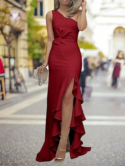 Charmeuse Sleeveless Sheath/Column Prom Dresses One-Shoulder Ruffle Split Front Cascading Ruffles Sweep Train (018218099)
