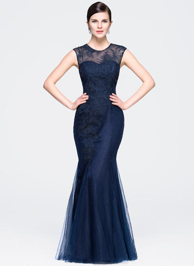 Trumpet/Mermaid Scoop Neck Tulle Lace Sleeveless Floor-Length Evening Dresses (017201927)