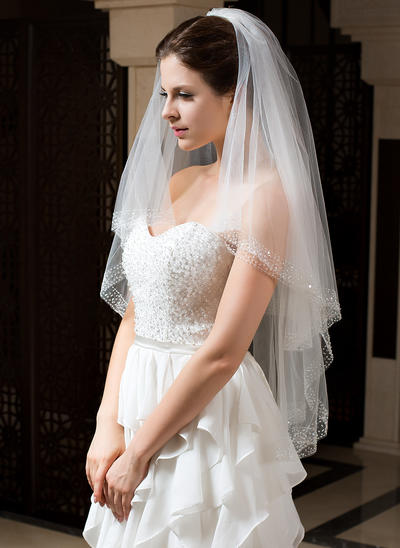 Fingertip Bridal Veils Tulle Two-tier Classic With Beaded Edge Wedding Veils (006151423)