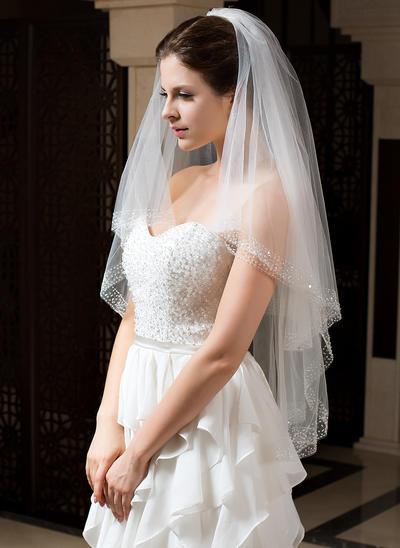 Fingerspitze Braut Schleier Tüll Zweischichtig Klassische Art mit Perlenbesetzter Saum Brautschleier (006151423)