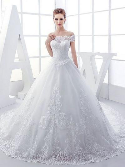 royal train tulle wedding dress