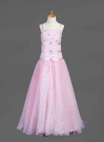 Fashion Floor-length A-Line/Princess Flower Girl Dresses Organza/Satin Sleeveless (010005890)