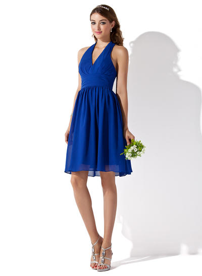Chiffon Sleeveless A-Line/Princess Bridesmaid Dresses Halter Ruffle Knee-Length (007000754)