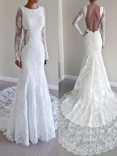 Flattering Court Train Trumpet/Mermaid Wedding Dresses Scoop Lace Long Sleeves (002147976)