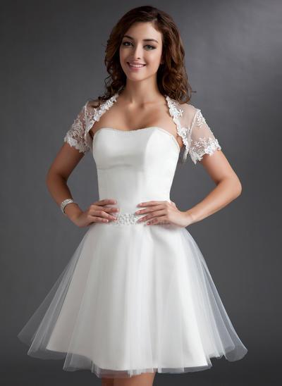 2019 New Knee-Length A-Line/Princess Wedding Dresses Sweetheart Tulle Sleeveless (002211267)