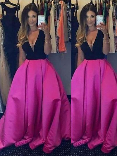Satin Sleeveless Ball-Gown Prom Dresses V-neck Ruffle Floor-Length (018210303)
