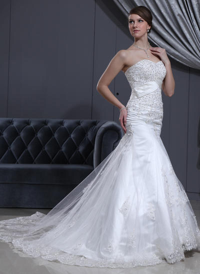 2019 New Cathedral Train Trumpet/Mermaid Wedding Dresses Sweetheart Tulle Sleeveless (002000078)