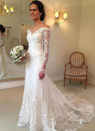 Elegant Floor-Length Court Train Trumpet/Mermaid Wedding Dresses Off-The-Shoulder Tulle Long Sleeves (002148054)