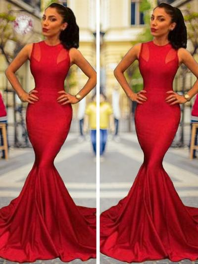 Charmeuse Sleeveless Trumpet/Mermaid Prom Dresses Scoop Neck Court Train (018218105)