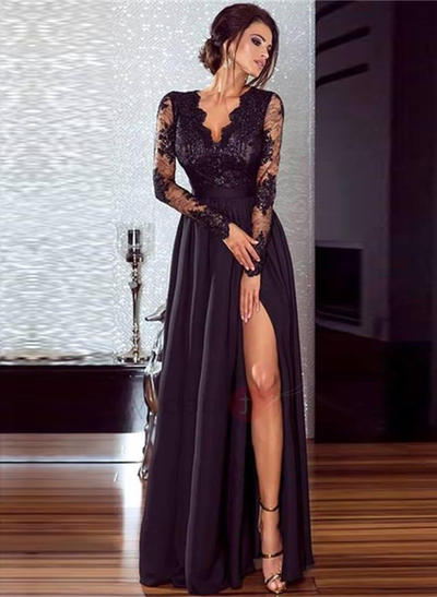 Chiffon Long Sleeves A-Line/Princess Prom Dresses V-neck Lace Split Front Floor-Length (018218096)