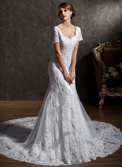 Chic Cathedral Train Trumpet/Mermaid Wedding Dresses Sweetheart Tulle Lace Short Sleeves (002196851)