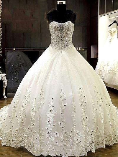 Newest Chapel Train Ball-Gown Wedding Dresses Sweetheart Tulle Sleeveless (002213534)