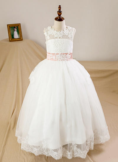 Chic Floor-length Ball Gown Flower Girl Dresses Scoop Neck Tulle/Lace Sleeveless (010212156)