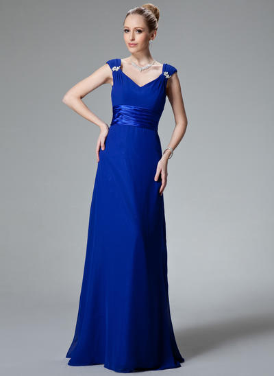 Chiffon Charmeuse Sleeveless A-Line/Princess Bridesmaid Dresses V-neck Ruffle Beading Floor-Length (007000925)