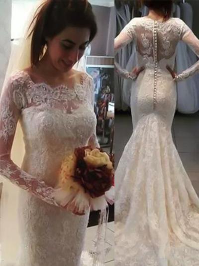 Magnificent Sweep Train Trumpet/Mermaid Wedding Dresses Scoop Lace Long Sleeves (002217843)