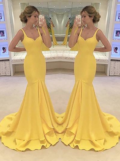Charmeuse Sleeveless Trumpet/Mermaid Prom Dresses Sweetheart Cascading Ruffles Sweep Train (018210991)