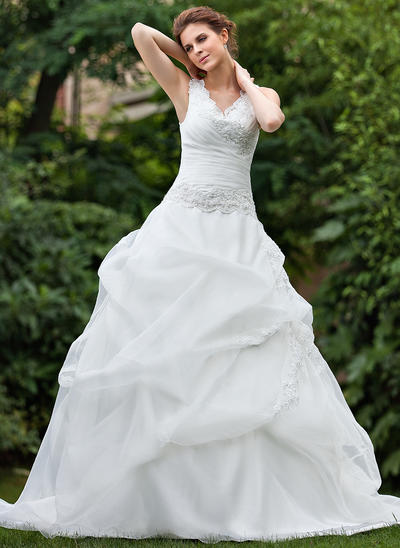 Luxurious Cathedral Train Ball-Gown Wedding Dresses Sweetheart Organza Sleeveless (002001220)