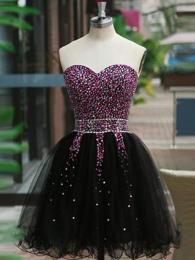 A-Line/Princess Sweetheart Tulle Sleeveless Short/Mini Beading Homecoming Dresses (022216254)