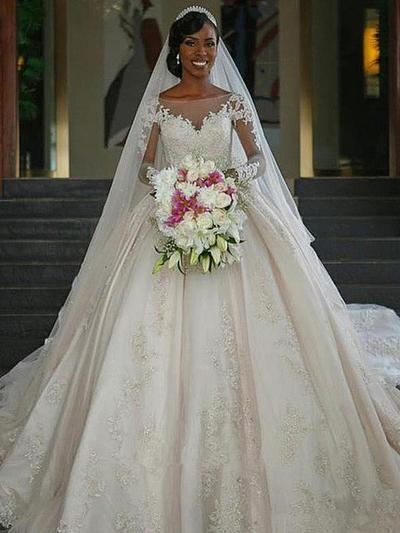 Elegant Chapel Train Ball-Gown Wedding Dresses Scoop Satin Long Sleeves (002217899)