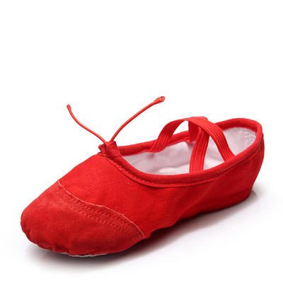 Unisex Ballet Belly Flats Canvas With Lace-up Dance Shoes (053181348)