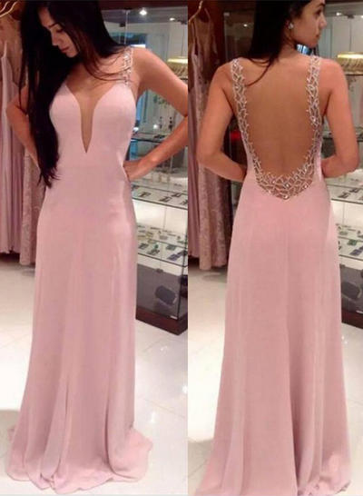 Chiffon Sleeveless A-Line/Princess Prom Dresses V-neck Beading Sweep Train (018144682)
